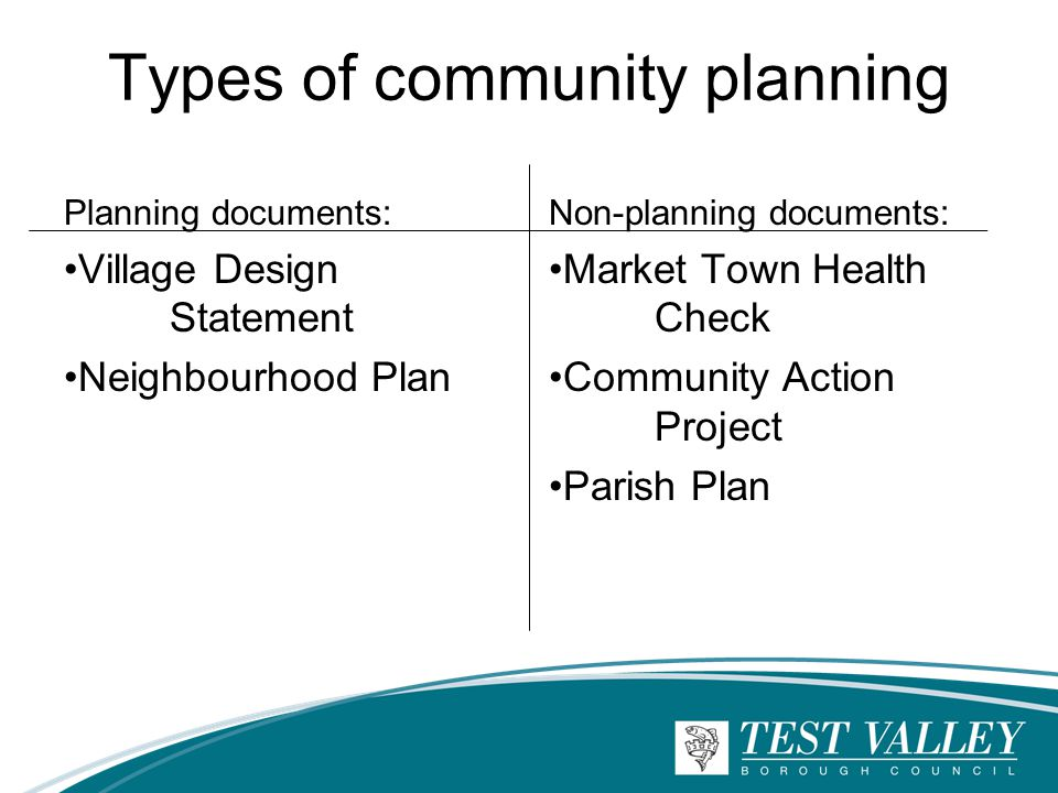 Types of community planning Planning documents: Village Design Statement Neighbourhood Plan Non-planning documents: Market Town Health Check Community Action Project Parish Plan
