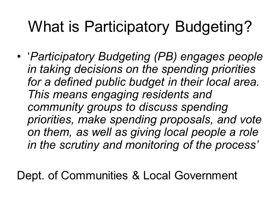 What is Participatory Budgeting.