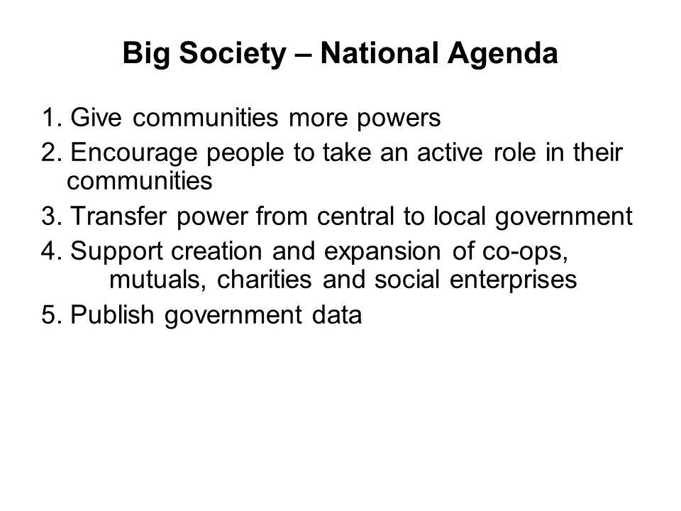 Big Society Four Leicestershire Big Society aspirations…