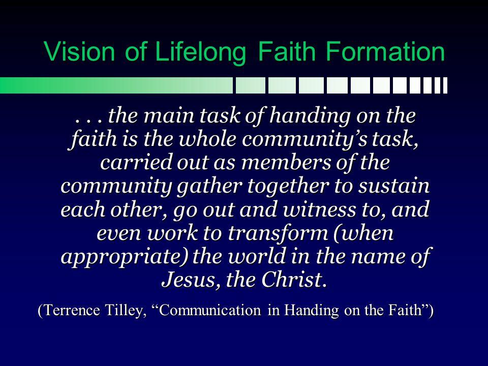 Part 1 Vision of Lifelong Faith Formation  How can we provide faith formation across the whole lifespan.