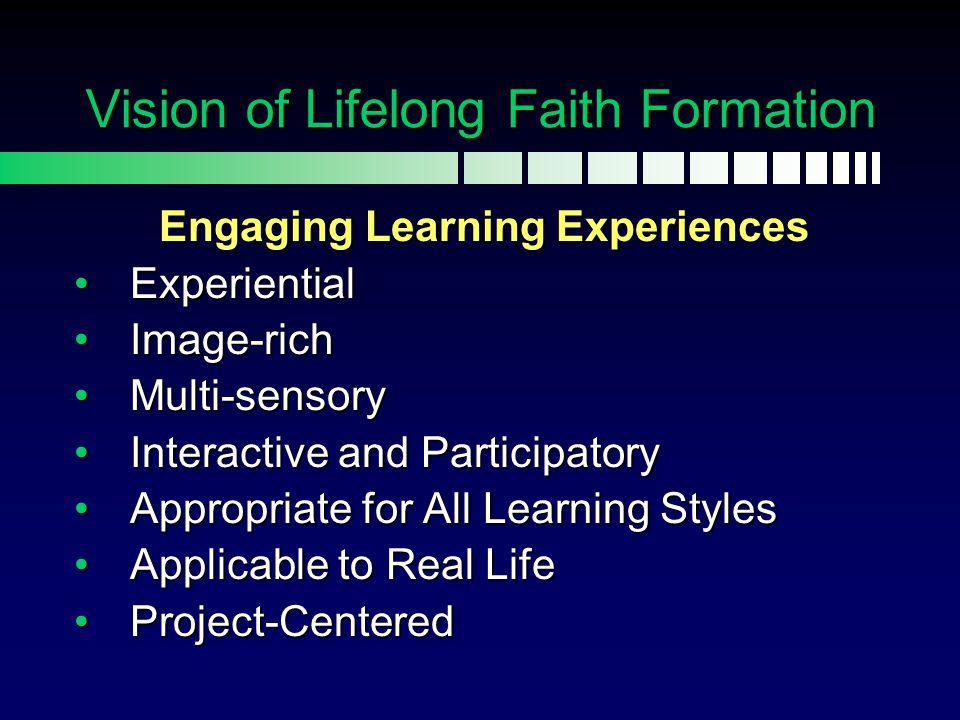 Connected Faith Formation Church Life & Faith Practices Faith Formation Home/Family Vision of Lifelong Faith Formation