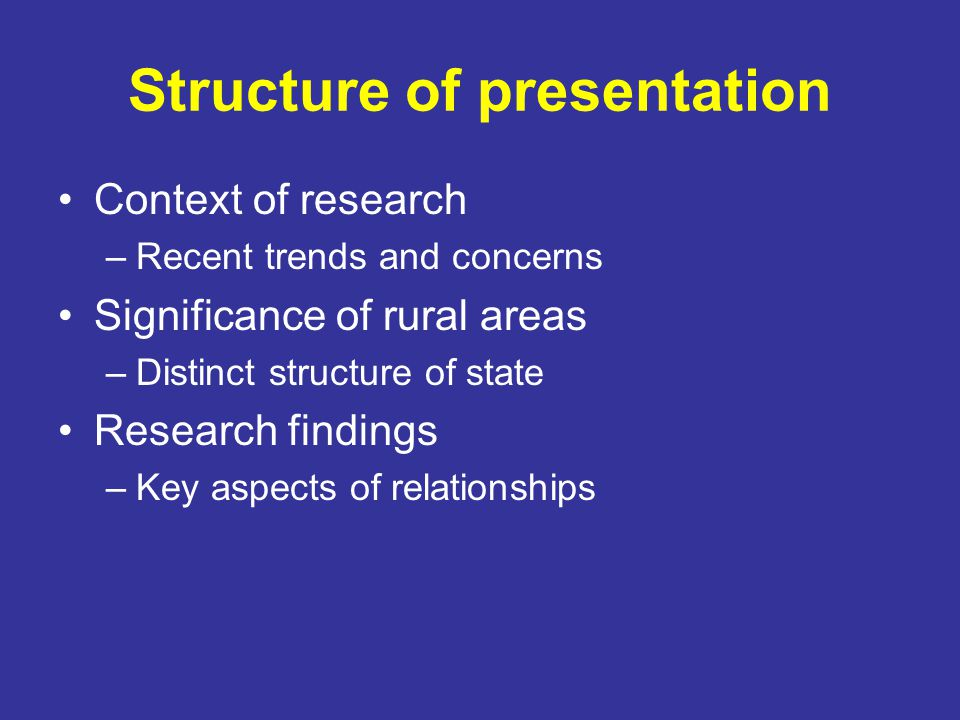 Structure of presentation Context of research –Recent trends and concerns Significance of rural areas –Distinct structure of state Research findings –Key aspects of relationships