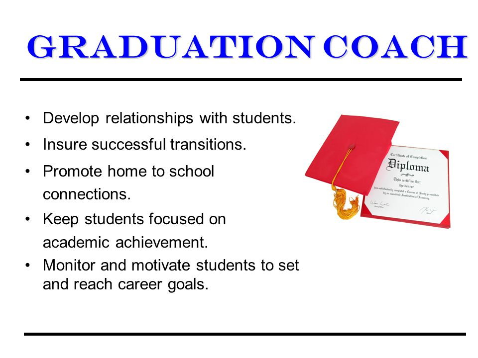 GraduationCoach Graduation Coach Develop relationships with students.