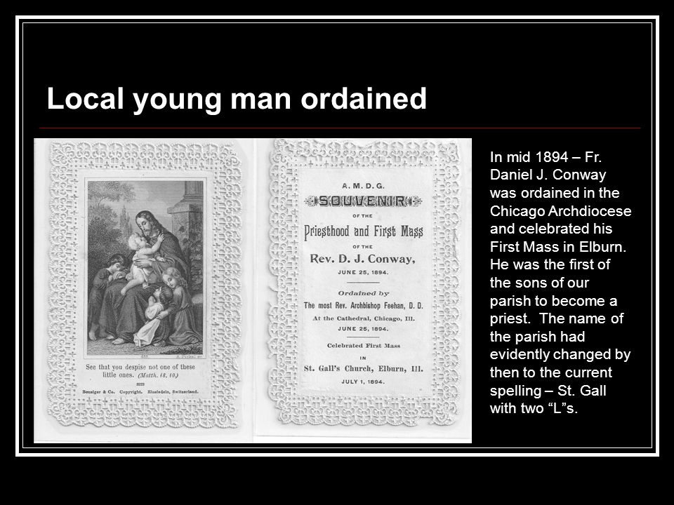 Local young man ordained In mid 1894 – Fr. Daniel J.