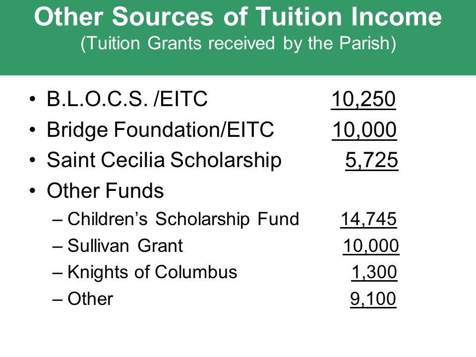 Other Sources of Tuition Income (Tuition Grants received by the Parish) B.L.O.C.S.