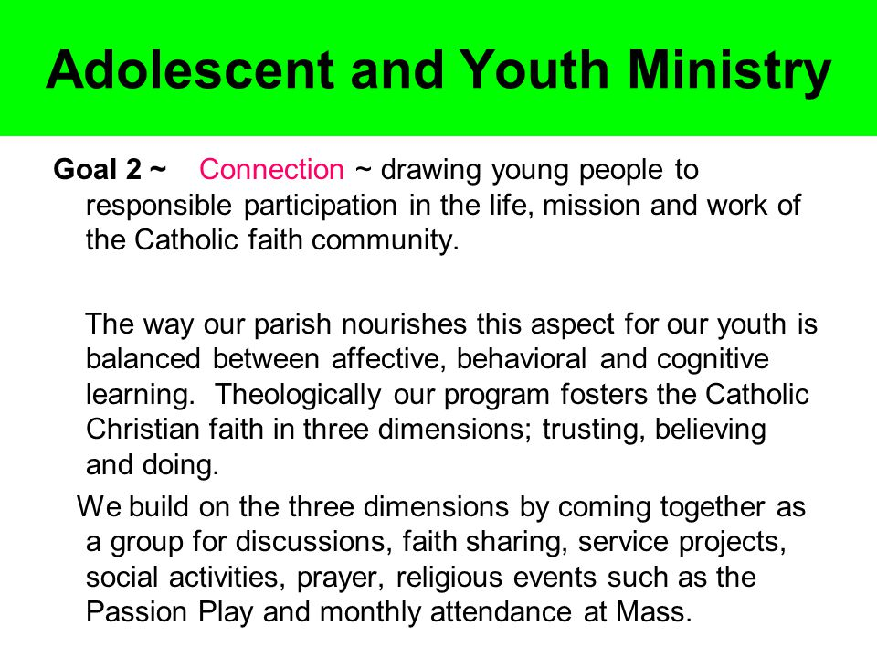 Adolescent and Youth Ministry Goal 2 ~ Connection ~ drawing young people to responsible participation in the life, mission and work of the Catholic faith community.
