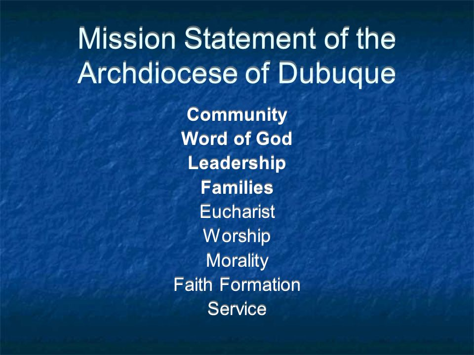 Mission Statement of the Archdiocese of Dubuque Community Word of God Leadership Families Eucharist Worship Morality Faith Formation Service Community Word of God Leadership Families Eucharist Worship Morality Faith Formation Service