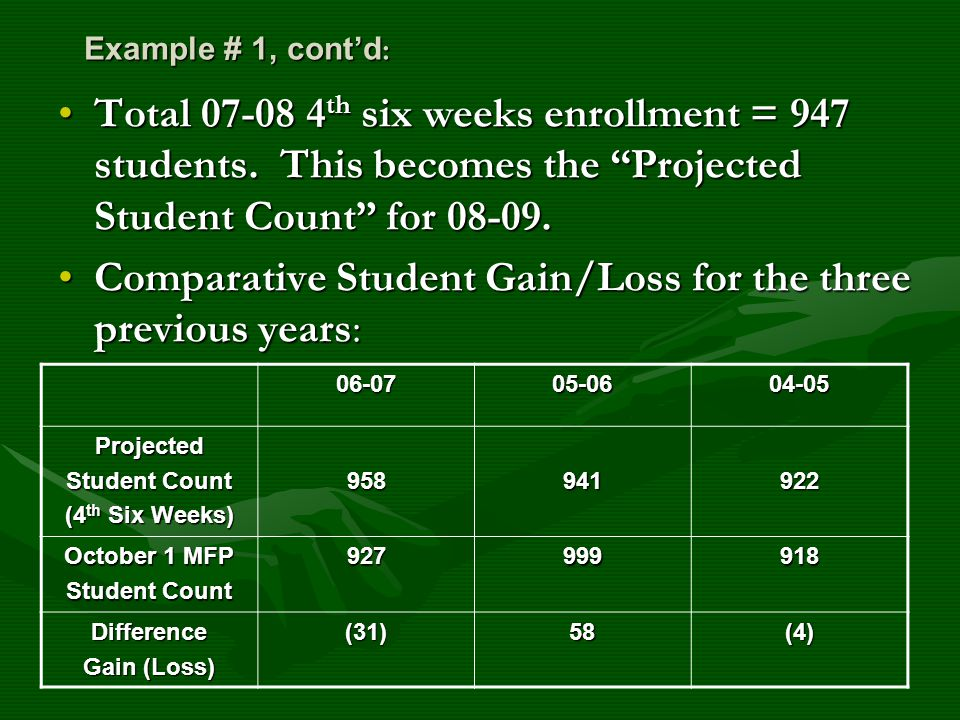 Example # 1, cont'd : Total 07-08 4 th six weeks enrollment = 947 students.