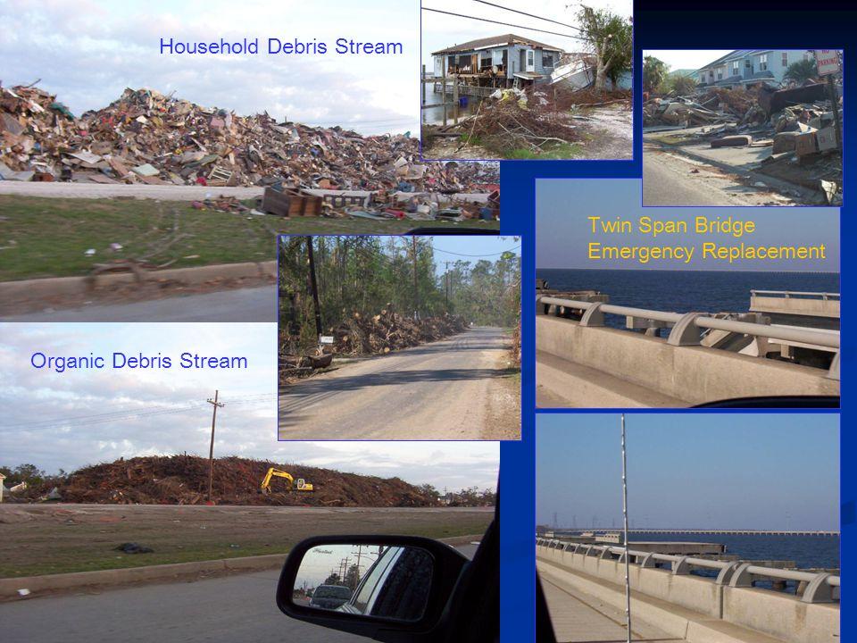 Household Debris Stream Organic Debris Stream Twin Span Bridge Emergency Replacement
