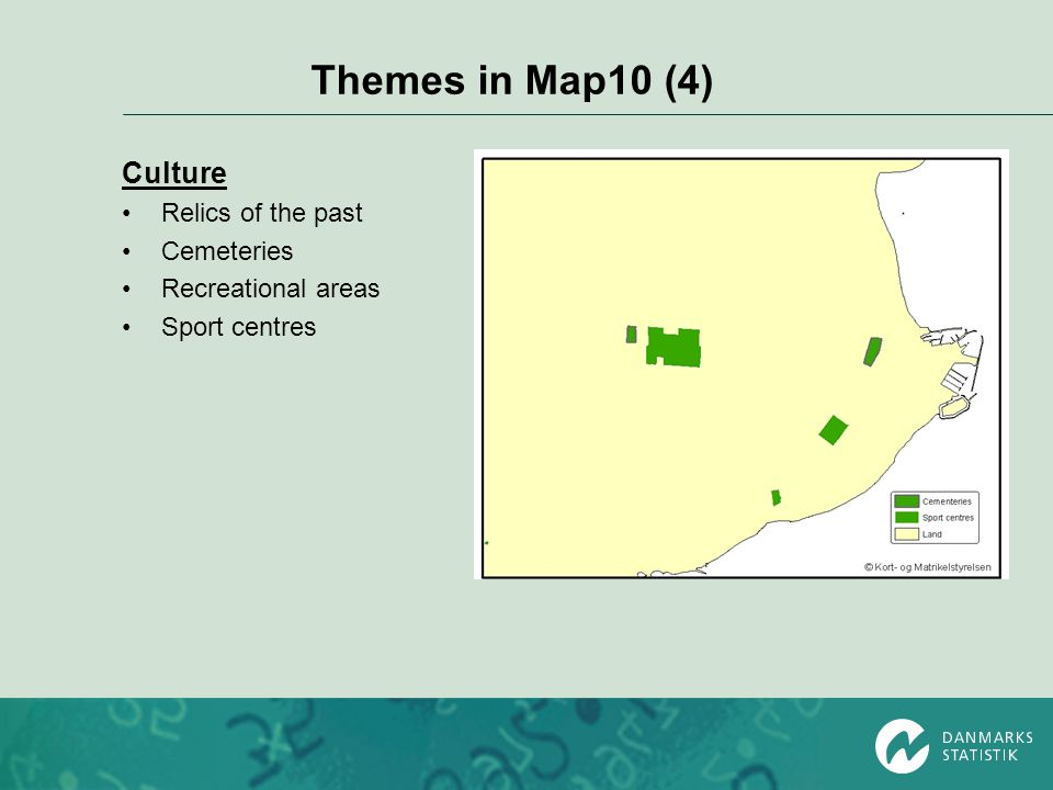 Themes in Map10 (4) Culture Relics of the past Cemeteries Recreational areas Sport centres