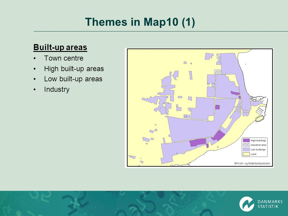 Themes in Map10 (1) Built-up areas Town centre High built-up areas Low built-up areas Industry