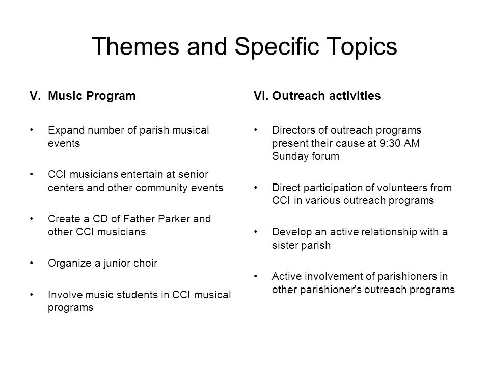 Themes and Specific Topics V.