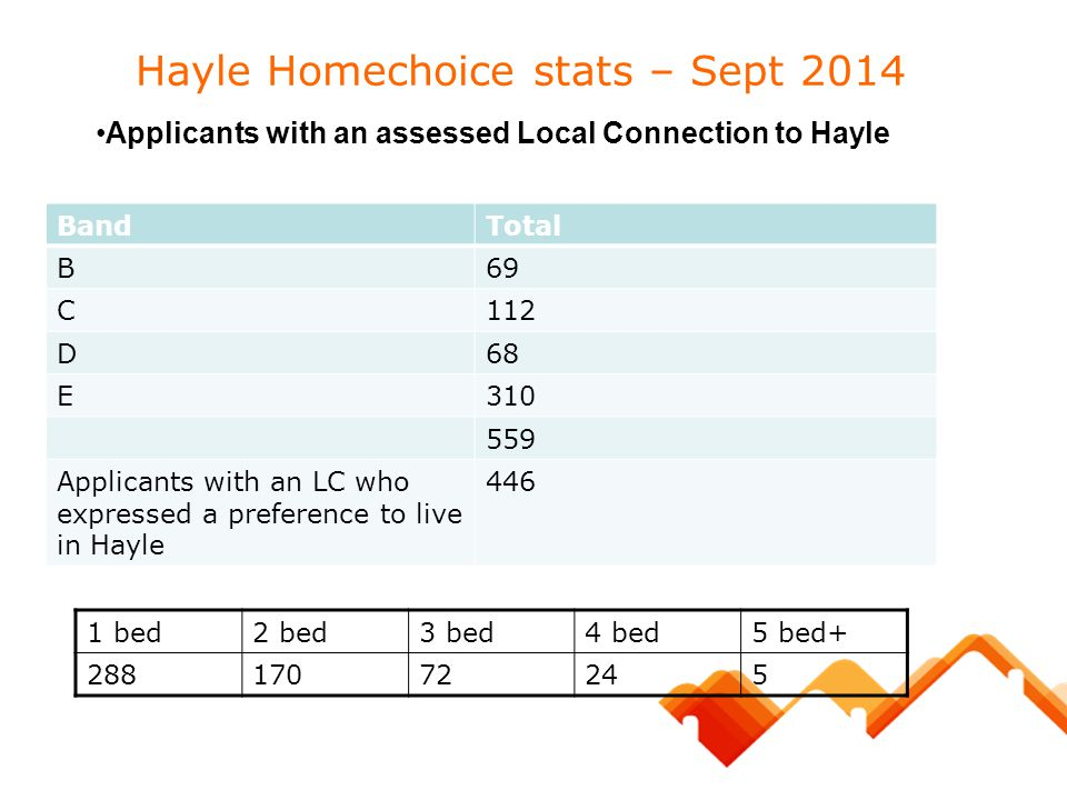 Hayle Homechoice stats – Sept 2014 1 bed2 bed3 bed4 bed5 bed+ 28817072245 BandTotal B69 C112 D68 E310 559 Applicants with an LC who expressed a prefer