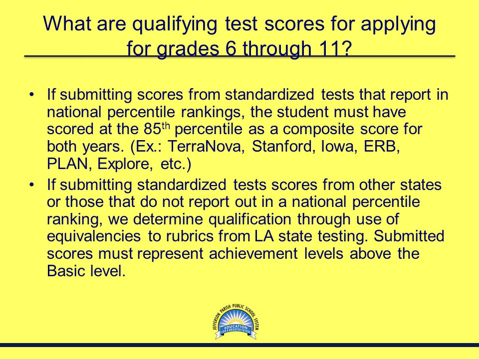 What are qualifying test scores for applying for grades 6 through 11? If submitting scores from standardized tests that report in national percentile