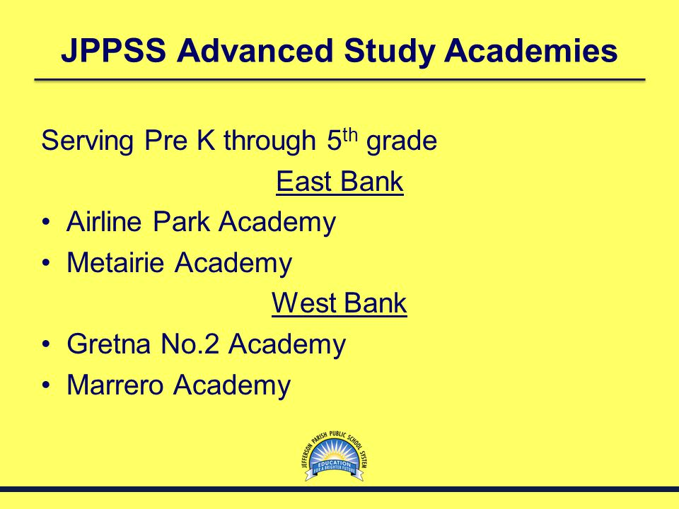 JPPSS Advanced Study Academies Serving 6 th through 12 th grades East Bank Haynes Academy West Bank Ruppel Academy (6-8) Thomas Jefferson High School (9-12) District wide Patrick Taylor Science & Technology Academy