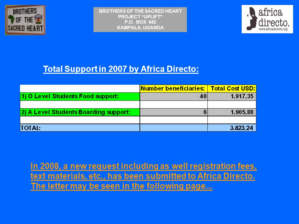 """BROTHERS OF THE SACRED HEART PROJECT """"UPLIFT"""" P.O. BOX 642 KAMPALA, UGANDA Total Support in 2007 by Africa Directo: In 2008, a new request including a"""