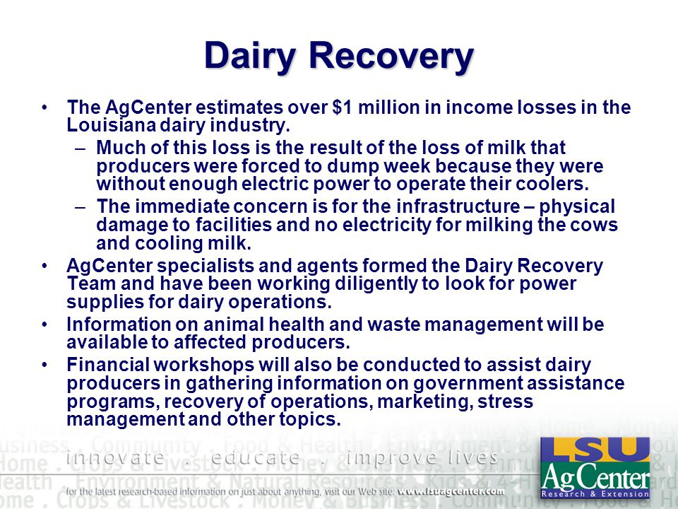 Dairy Recovery The AgCenter estimates over $1 million in income losses in the Louisiana dairy industry.
