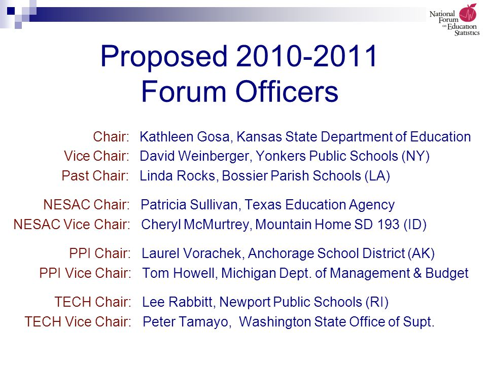 Proposed 2010-2011 Forum Officers Chair: Kathleen Gosa, Kansas State Department of Education Vice Chair: David Weinberger, Yonkers Public Schools (NY) Past Chair: Linda Rocks, Bossier Parish Schools (LA) NESAC Chair: Patricia Sullivan, Texas Education Agency NESAC Vice Chair: Cheryl McMurtrey, Mountain Home SD 193 (ID) PPI Chair: Laurel Vorachek, Anchorage School District (AK) PPI Vice Chair: Tom Howell, Michigan Dept.
