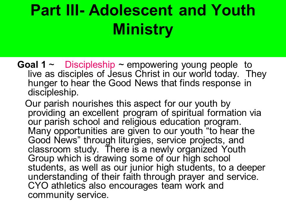 Part III- Adolescent and Youth Ministry Goal 1 ~ Discipleship ~ empowering young people to live as disciples of Jesus Christ in our world today.