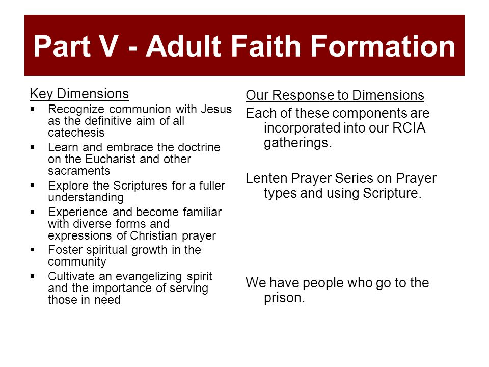 Part V - Adult Faith Formation Key Dimensions  Recognize communion with Jesus as the definitive aim of all catechesis  Learn and embrace the doctrine on the Eucharist and other sacraments  Explore the Scriptures for a fuller understanding  Experience and become familiar with diverse forms and expressions of Christian prayer  Foster spiritual growth in the community  Cultivate an evangelizing spirit and the importance of serving those in need Our Response to Dimensions Each of these components are incorporated into our RCIA gatherings.