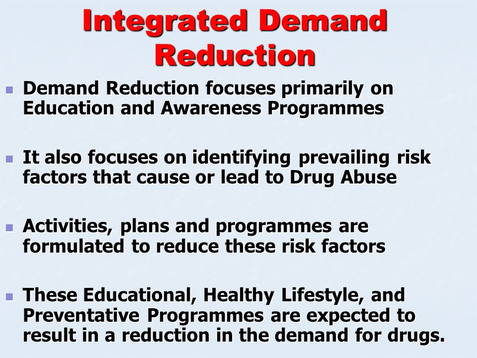 Demand Reduction Measures-1 Drug Education and Awareness Programme Drug Education and Awareness Programme Individual & Community Involvement Individual & Community Involvement Economic Alternatives Economic Alternatives Social & Cultural Programmes Social & Cultural Programmes Sports Programmes Sports Programmes