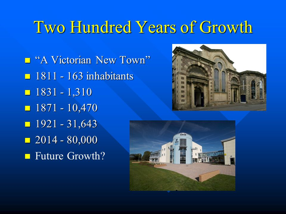 Two Hundred Years of Growth A Victorian New Town A Victorian New Town 1811 - 163 inhabitants 1811 - 163 inhabitants 1831 - 1,310 1831 - 1,310 1871 - 10,470 1871 - 10,470 1921 - 31,643 1921 - 31,643 2014 - 80,000 2014 - 80,000 Future Growth?