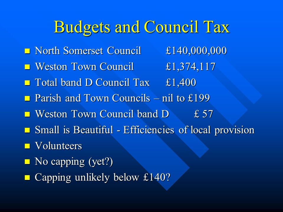 Budgets and Council Tax North Somerset Council £140,000,000 North Somerset Council £140,000,000 Weston Town Council £1,374,117 Weston Town Council £1,374,117 Total band D Council Tax £1,400 Total band D Council Tax £1,400 Parish and Town Councils – nil to £199 Parish and Town Councils – nil to £199 Weston Town Council band D £ 57 Weston Town Council band D £ 57 Small is Beautiful - Efficiencies of local provision Small is Beautiful - Efficiencies of local provision Volunteers Volunteers No capping (yet?) No capping (yet?) Capping unlikely below £140.