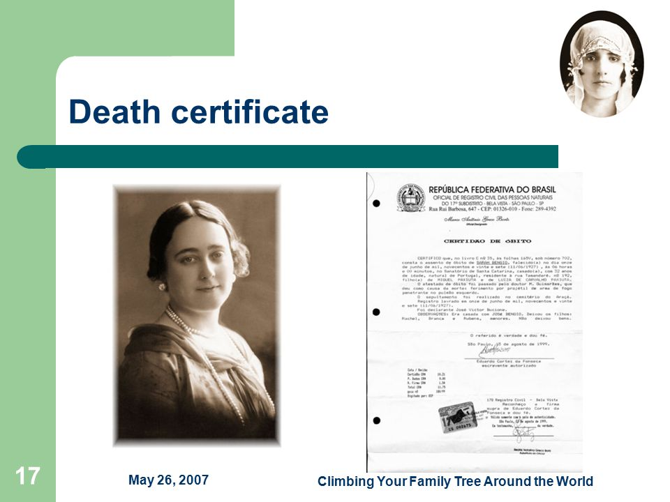 May 26, 2007 Climbing Your Family Tree Around the World 17 Death certificate