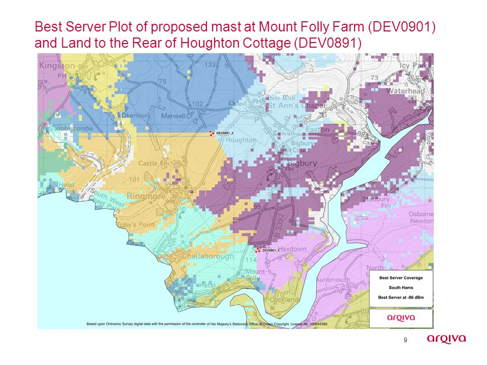 9 Best Server Plot of proposed mast at Mount Folly Farm (DEV0901) and Land to the Rear of Houghton Cottage (DEV0891)