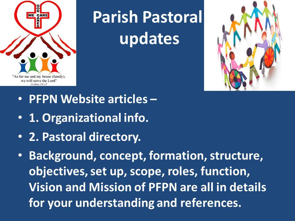 Parish Pastoral updates PFPN Website articles – 1.