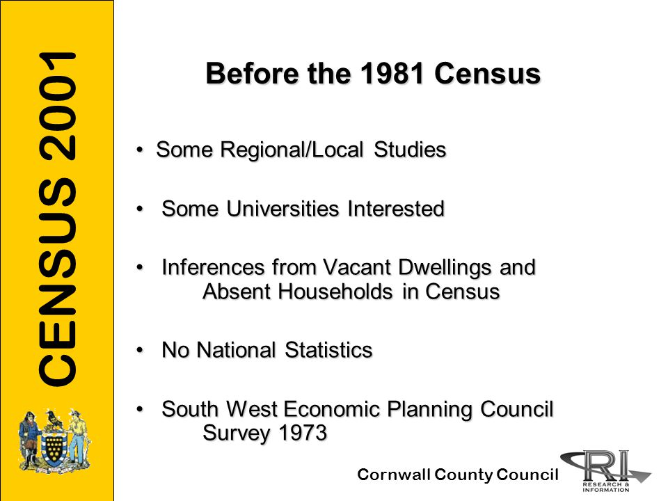 CENSUS 2001 Cornwall County Council Before the 1981 Census Some Regional/Local Studies Some Regional/Local Studies Some Universities Interested Some Universities Interested Inferences from Vacant Dwellings and Absent Households in Census Inferences from Vacant Dwellings and Absent Households in Census No National Statistics No National Statistics South West Economic Planning Council Survey 1973 South West Economic Planning Council Survey 1973