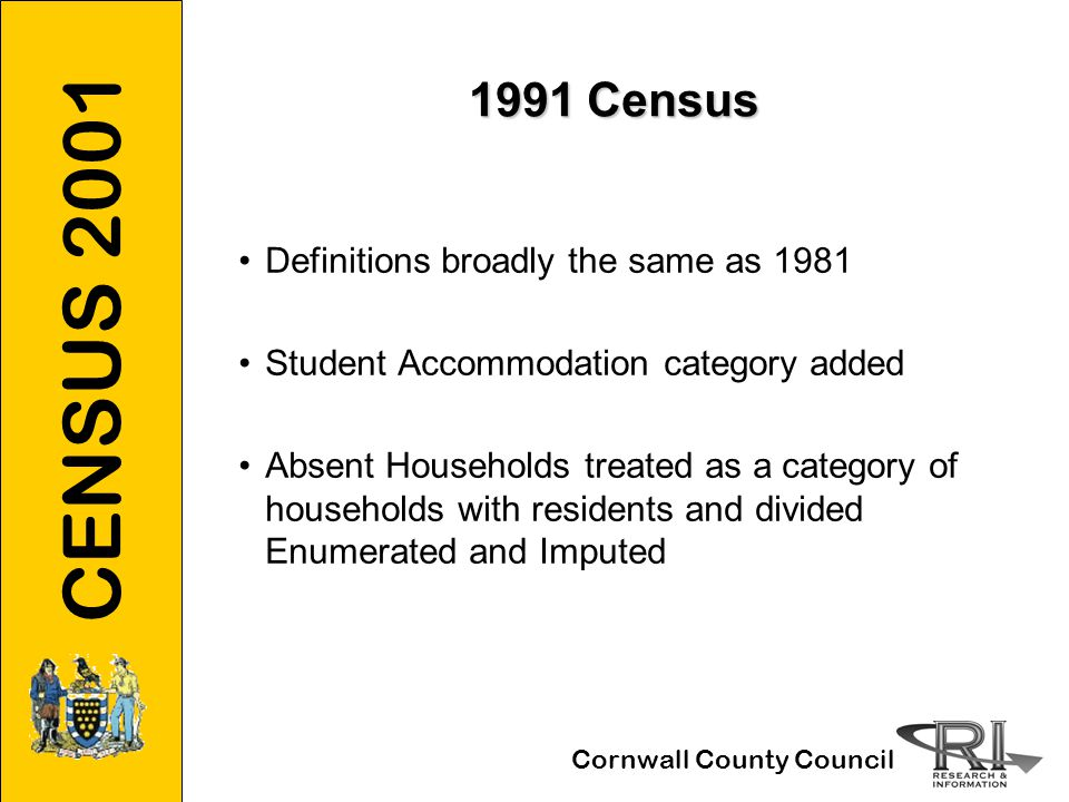 CENSUS 2001 Cornwall County Council 2001 Census Household Spaces with No Residents Reduced to Two Categories:Household Spaces with No Residents Reduced to Two Categories: Second Residences/Holiday Accommodation Not differentiated at enumerationNot differentiated at enumeration Includes all visitor householdsIncludes all visitor households Still based on information provided by enumeratorsStill based on information provided by enumerators Vacant Household Spaces Identified by enumerators as absents, refusals or non- returns but not subsequently imputedIdentified by enumerators as absents, refusals or non- returns but not subsequently imputed Change to Post back SystemChange to Post back System Foot and Mouth outbreakFoot and Mouth outbreak