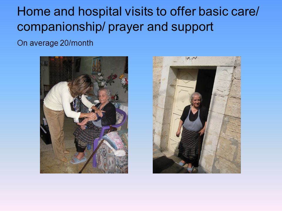Home and hospital visits to offer basic care/ companionship/ prayer and support On average 20/month