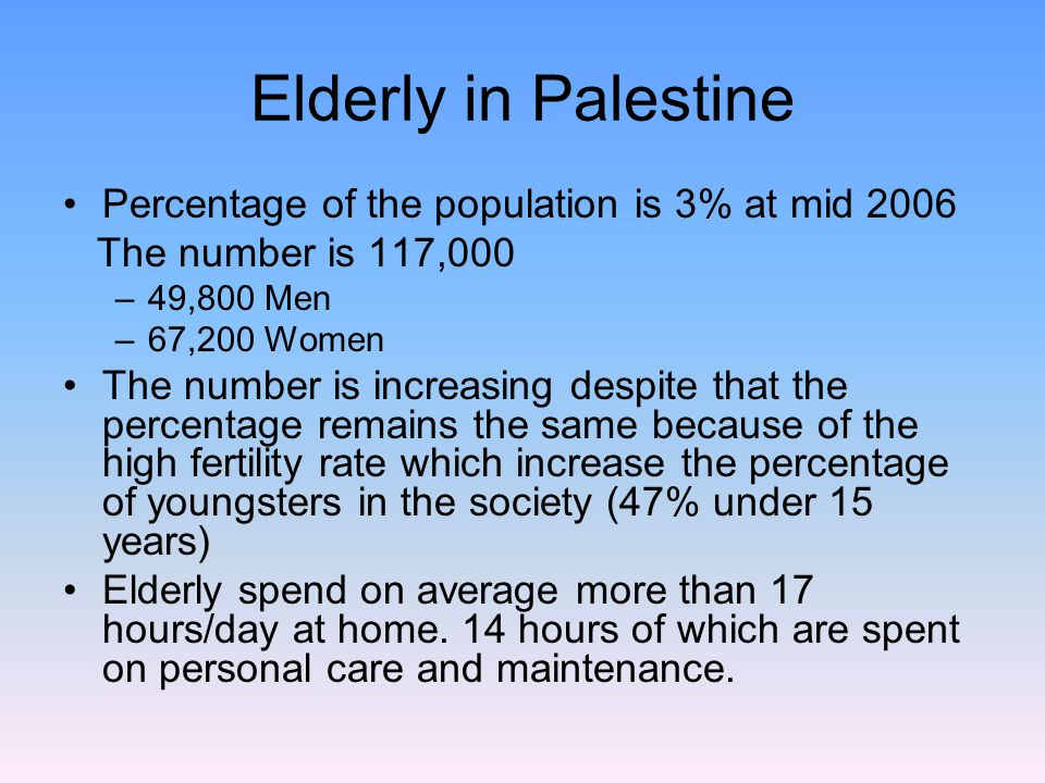 Elderly in Palestine Percentage of the population is 3% at mid 2006 The number is 117,000 –49,800 Men –67,200 Women The number is increasing despite that the percentage remains the same because of the high fertility rate which increase the percentage of youngsters in the society (47% under 15 years) Elderly spend on average more than 17 hours/day at home.
