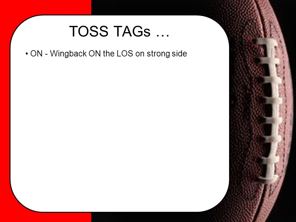 TOSS TAGs … ON - Wingback ON the LOS on strong side