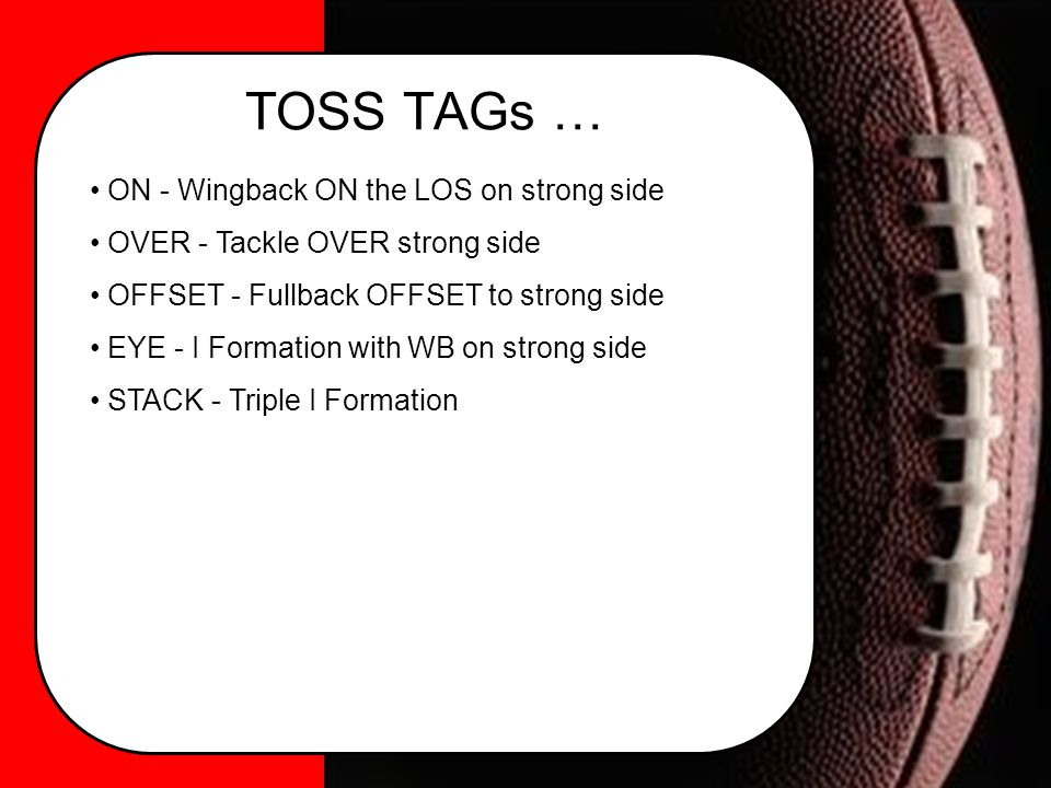 TOSS TAGs … ON - Wingback ON the LOS on strong side OVER - Tackle OVER strong side OFFSET - Fullback OFFSET to strong side EYE - I Formation with WB on strong side STACK - Triple I Formation