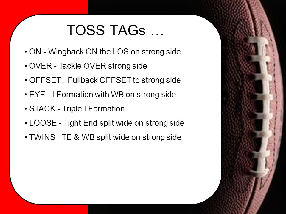 TOSS TAGs … ON - Wingback ON the LOS on strong side OVER - Tackle OVER strong side OFFSET - Fullback OFFSET to strong side EYE - I Formation with WB on strong side STACK - Triple I Formation LOOSE - Tight End split wide on strong side TWINS - TE & WB split wide on strong side