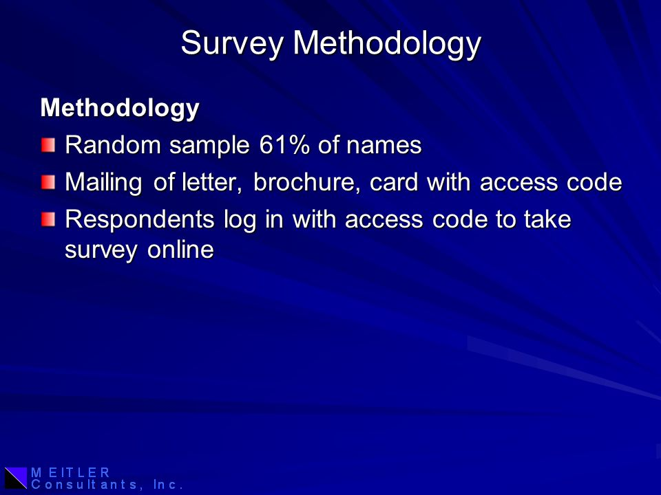 Survey Methodology Methodology Random sample 61% of names Mailing of letter, brochure, card with access code Respondents log in with access code to take survey online
