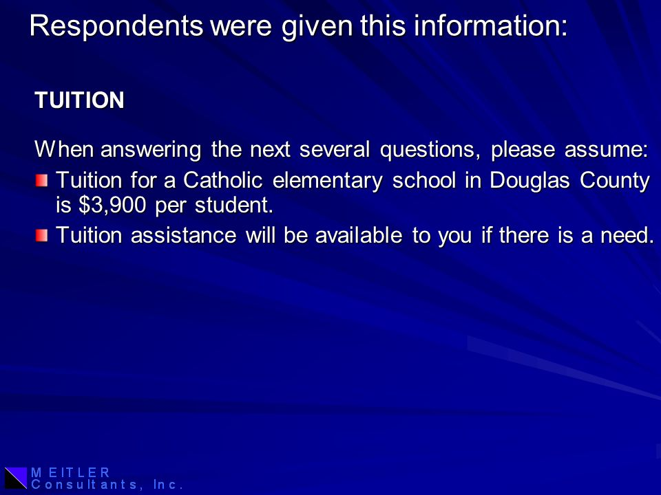 Respondents were given this information: Tuition for a Catholic elementary school in Douglas County is $3,900 per student.