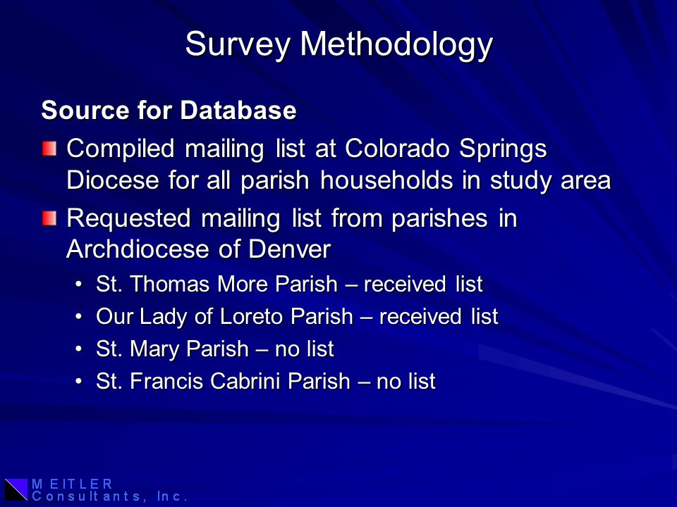 Survey Methodology Source for Database Compiled mailing list at Colorado Springs Diocese for all parish households in study area Requested mailing list from parishes in Archdiocese of Denver St.