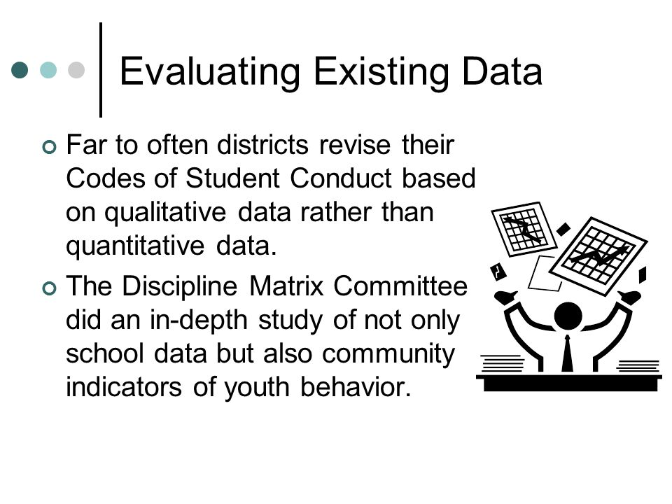 Evaluating Existing Data Far to often districts revise their Codes of Student Conduct based on qualitative data rather than quantitative data. The Dis