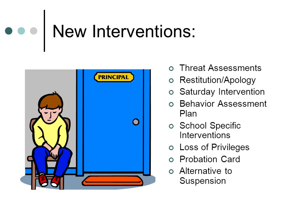 New Interventions: Threat Assessments Restitution/Apology Saturday Intervention Behavior Assessment Plan School Specific Interventions Loss of Privile