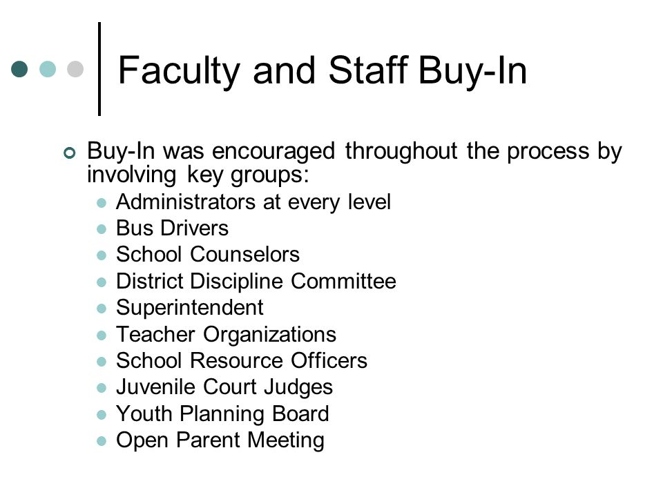 Faculty and Staff Buy-In Buy-In was encouraged throughout the process by involving key groups: Administrators at every level Bus Drivers School Counselors District Discipline Committee Superintendent Teacher Organizations School Resource Officers Juvenile Court Judges Youth Planning Board Open Parent Meeting