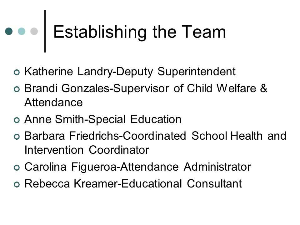 Establishing the Team Katherine Landry-Deputy Superintendent Brandi Gonzales-Supervisor of Child Welfare & Attendance Anne Smith-Special Education Barbara Friedrichs-Coordinated School Health and Intervention Coordinator Carolina Figueroa-Attendance Administrator Rebecca Kreamer-Educational Consultant