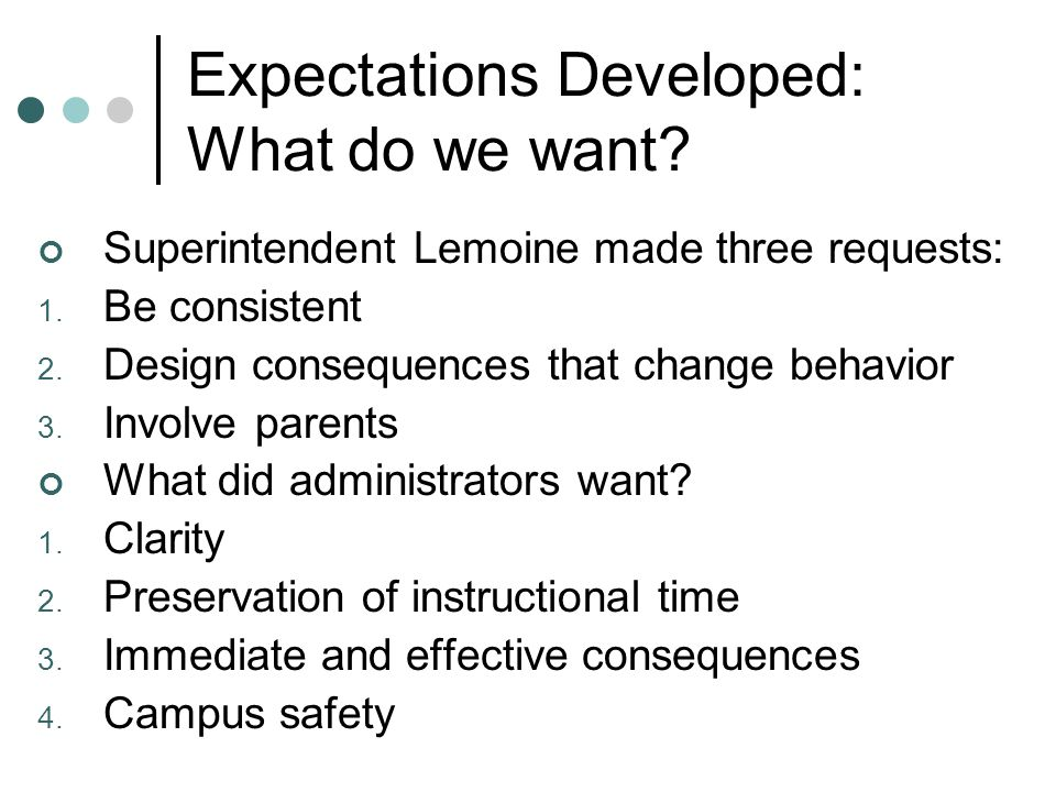 Expectations Developed: What do we want? Superintendent Lemoine made three requests: 1. Be consistent 2. Design consequences that change behavior 3. I