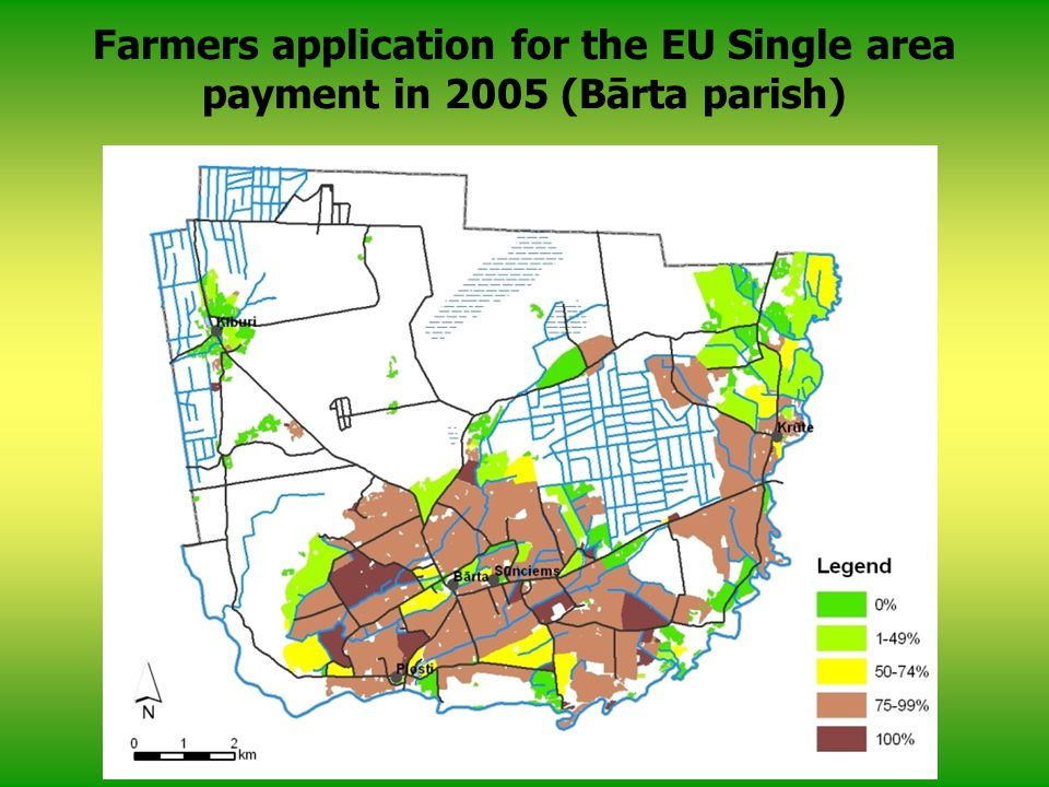 Farmers application for the EU Single area payment in 2005 (Bārta parish)