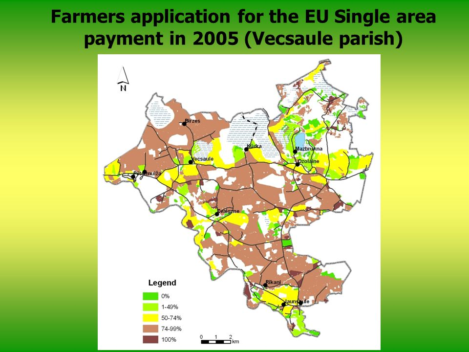 Farmers application for the EU Single area payment in 2005 (Vecsaule parish)