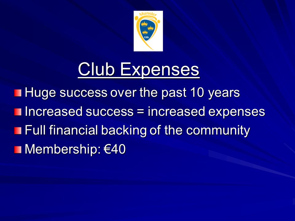 Club Expenses Huge success over the past 10 years Increased success = increased expenses Full financial backing of the community Membership: €40