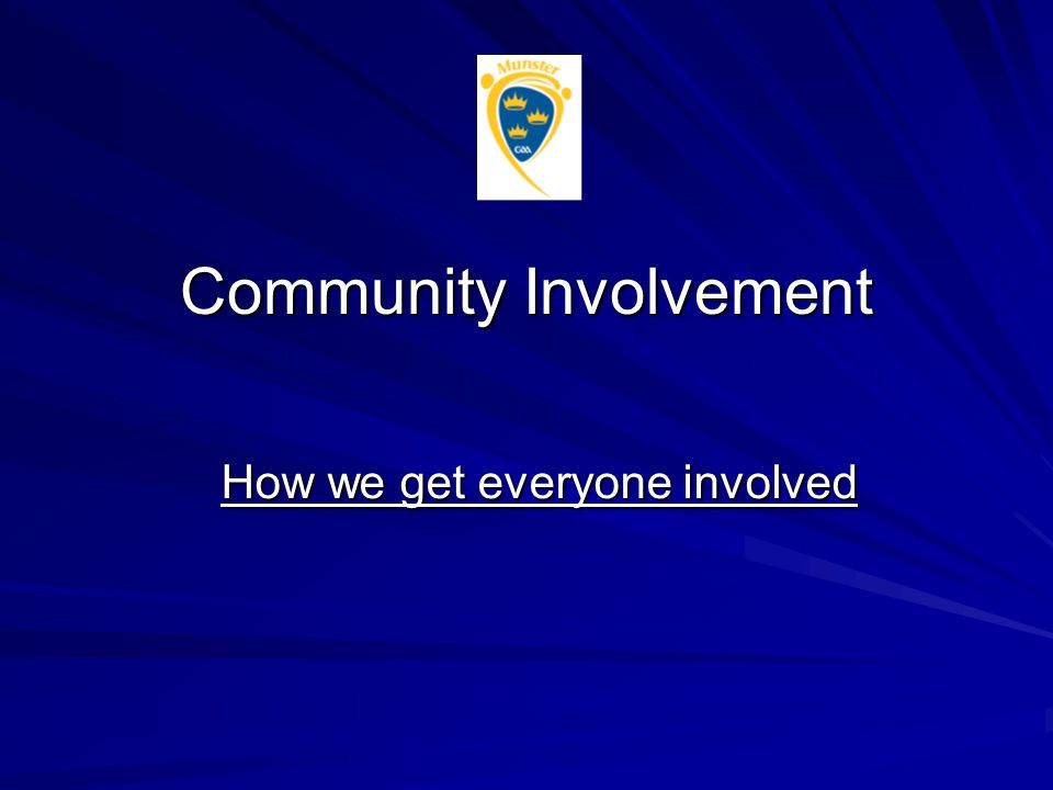 Community Involvement How we get everyone involved
