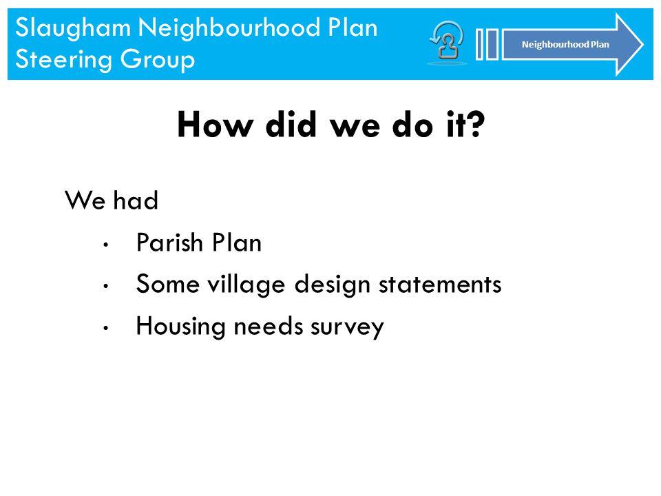 Slaugham Neighbourhood Plan Steering Group Neighbourhood Plan Slaugham Neighbourhood Plan Steering Group Neighbourhood Plan How did we do it.